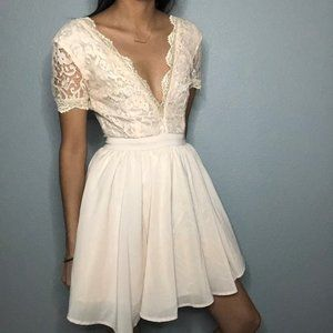Missguided Aleena Lace Plunge Neck Puff Ball Dress